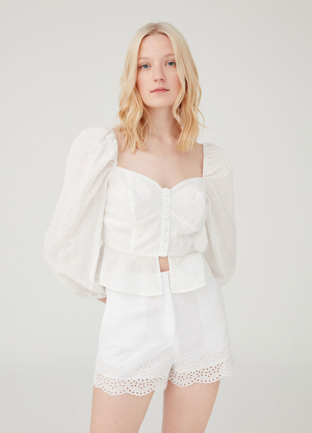 Broderie anglaise lace shirt with flounce