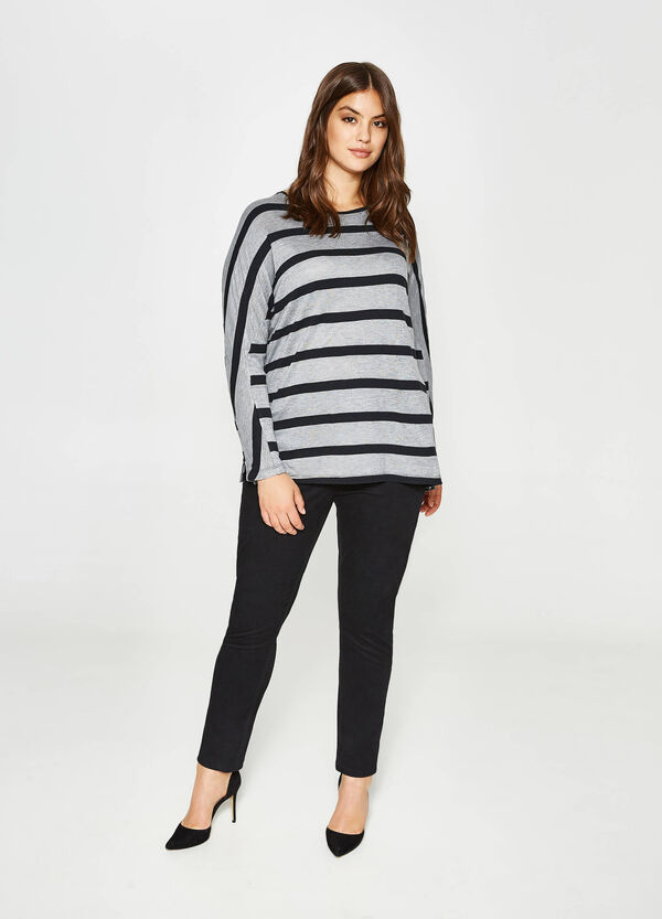 Curvy viscose and cotton T-shirt with stripes   OVS