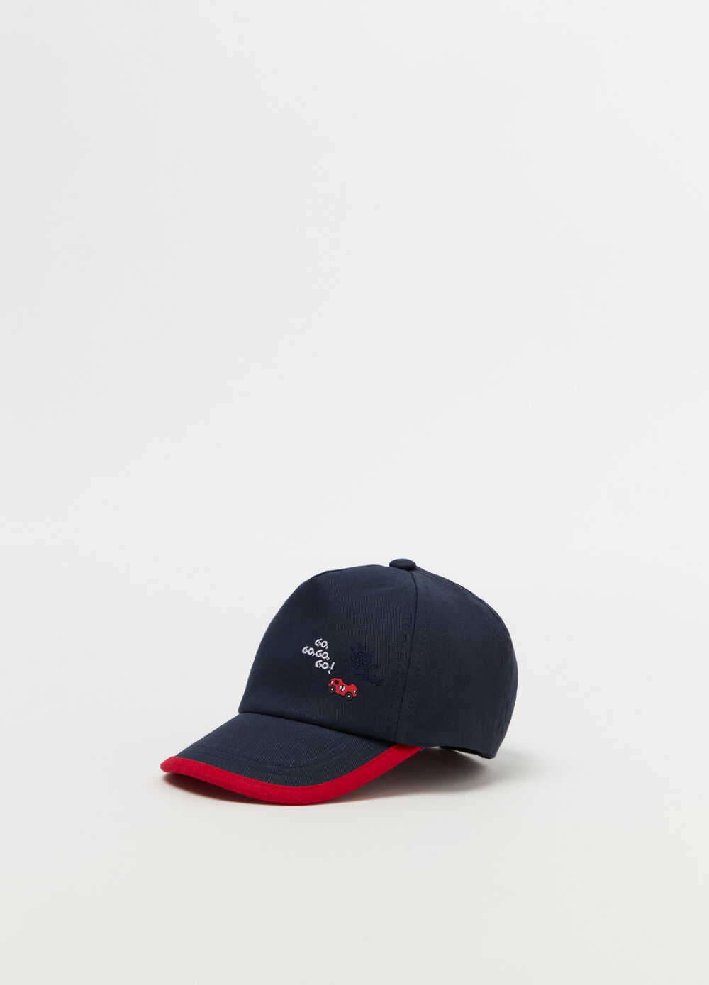 Hat with visor, lettering and car