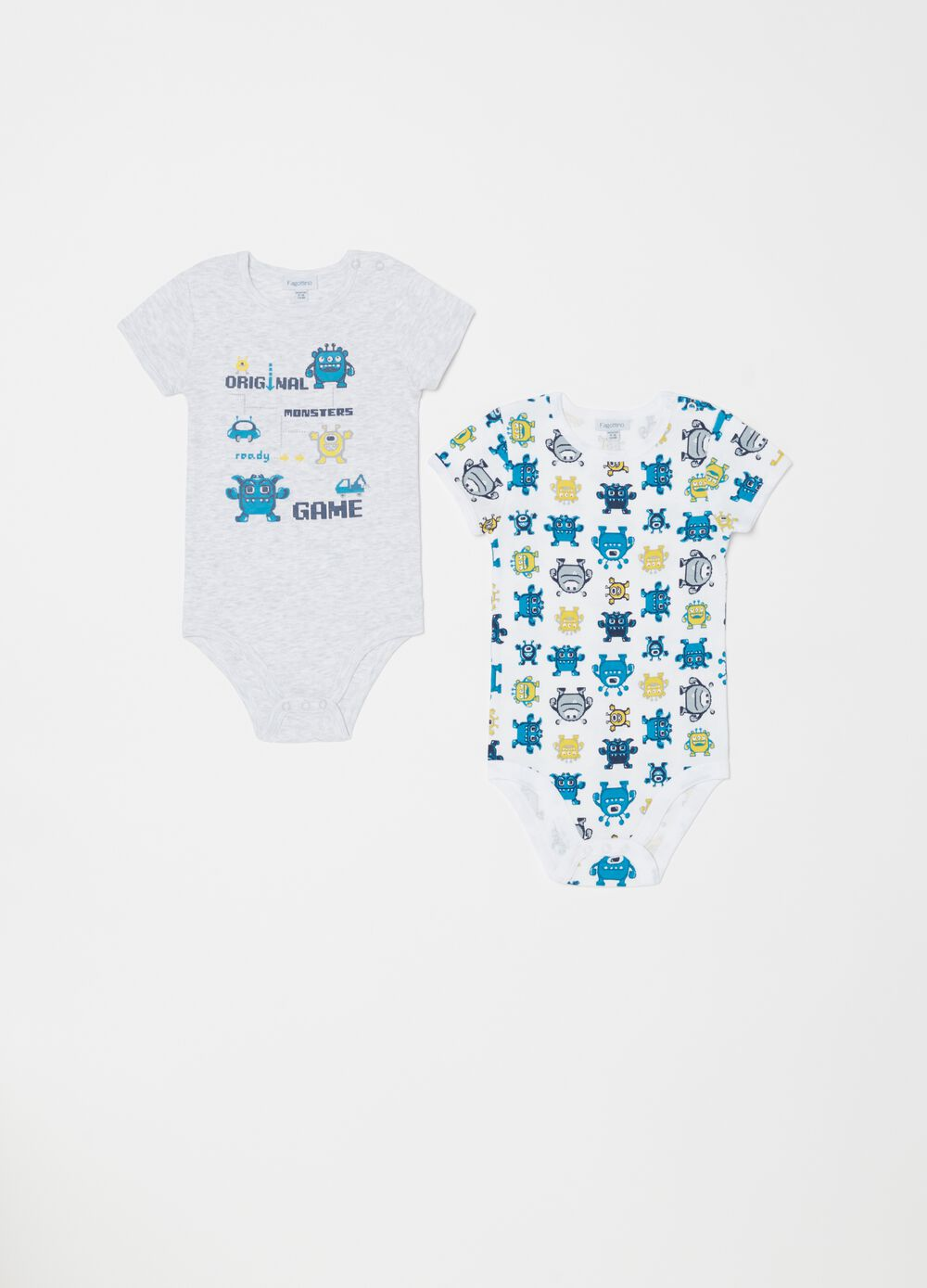 Set of two biocotton bodysuits with short sleeves