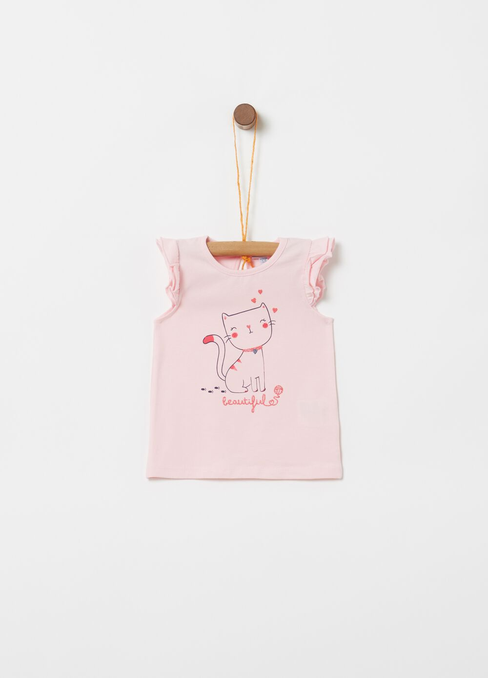 Ruched tank top with glittery kitten print