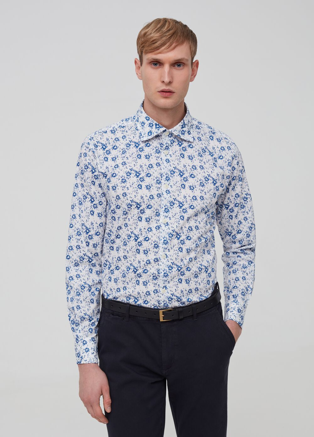100% cotton shirt with floral pattern