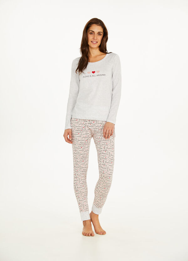 Cotton pyjamas with lettering pattern