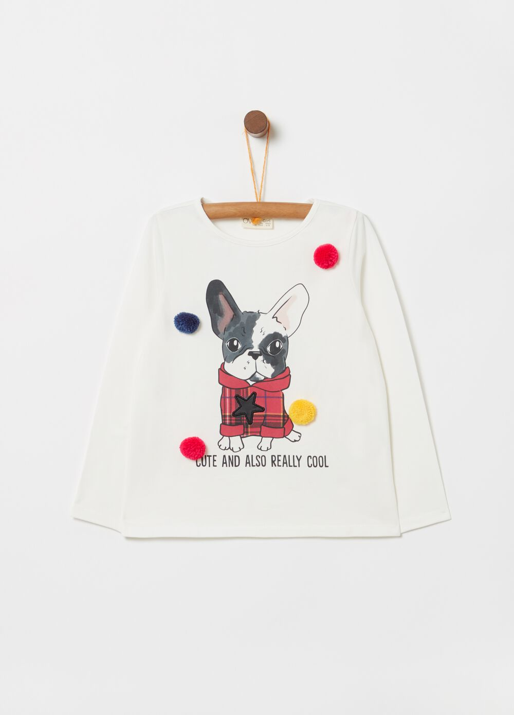 Organic cotton T-shirt with pompoms and print
