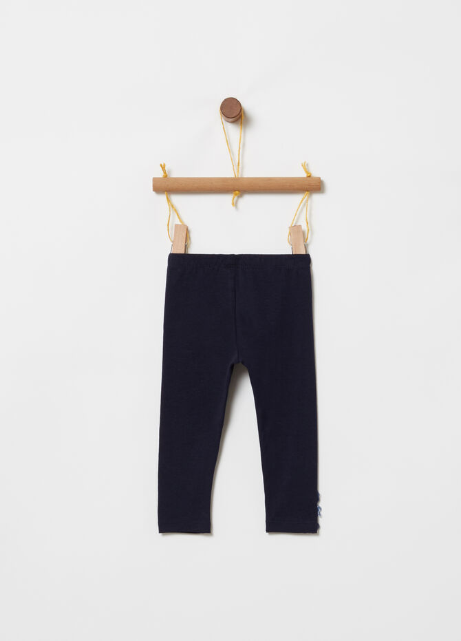 Cotton jersey leggings with tulle
