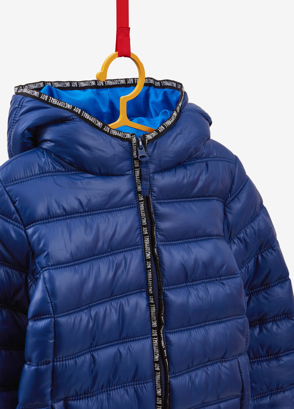 Padded jacket with printed lettering