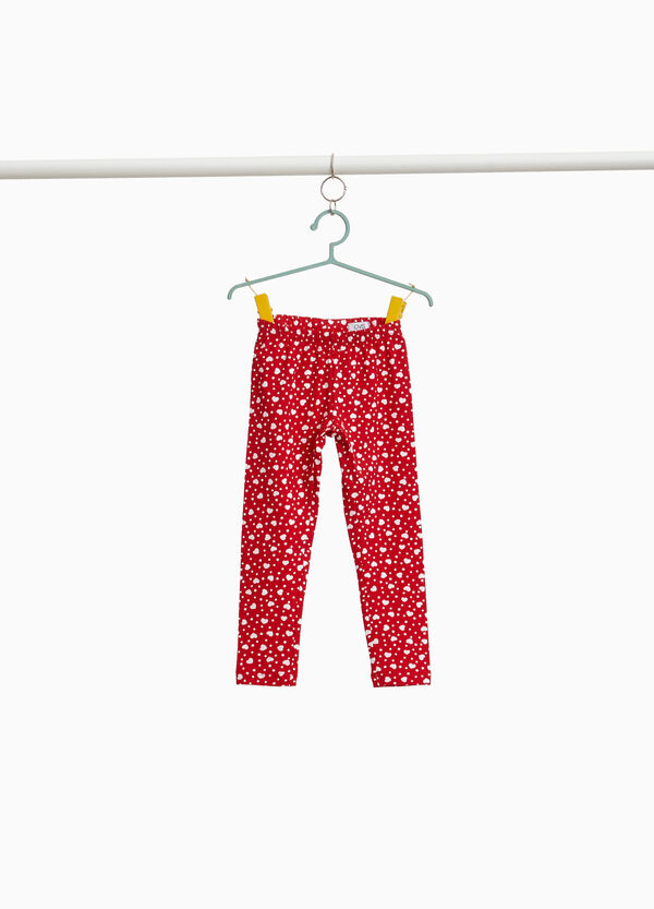 Leggings in stretch cotton with polka dots and hearts