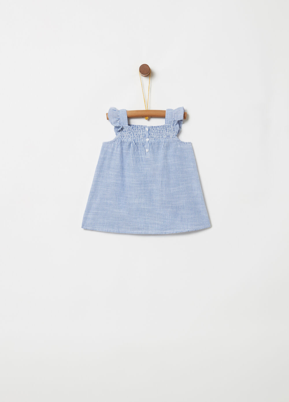 Yarn-dyed cotton shirt with stripe and flounce