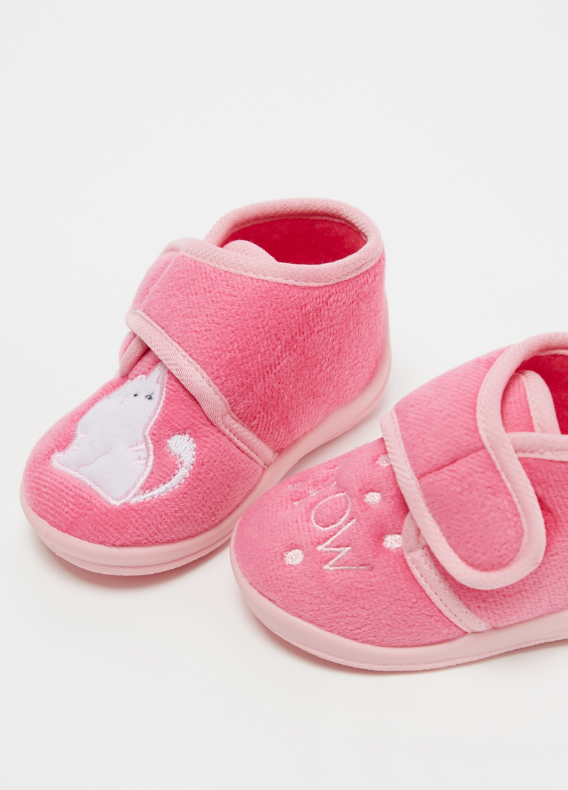 High slippers with kitten embroidery image number null