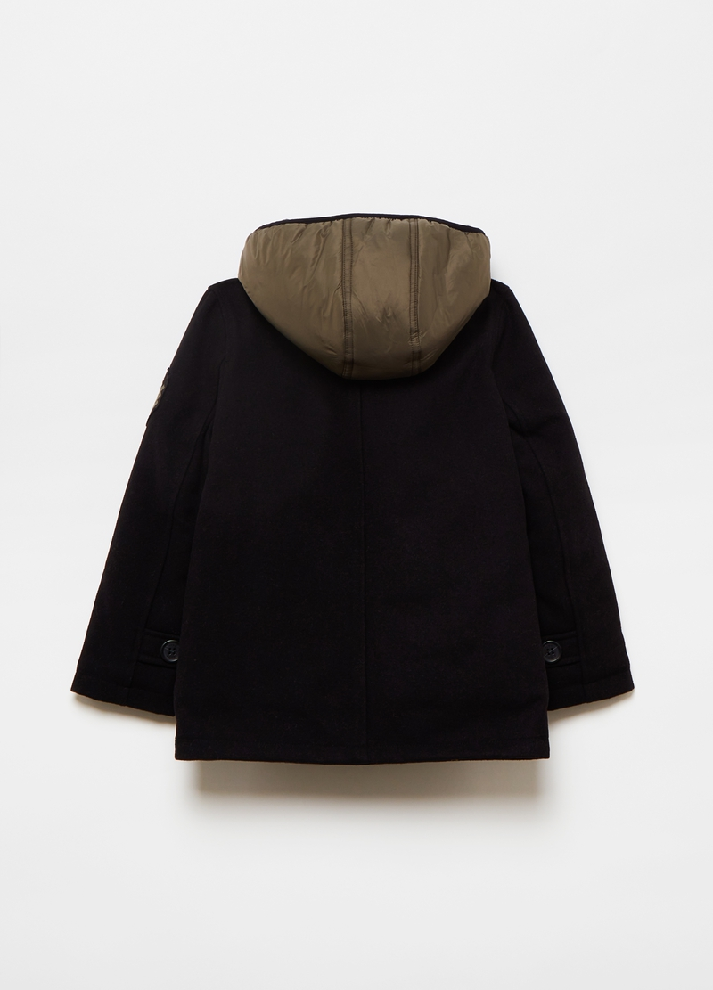 Wool blend caban coat with hood image number null