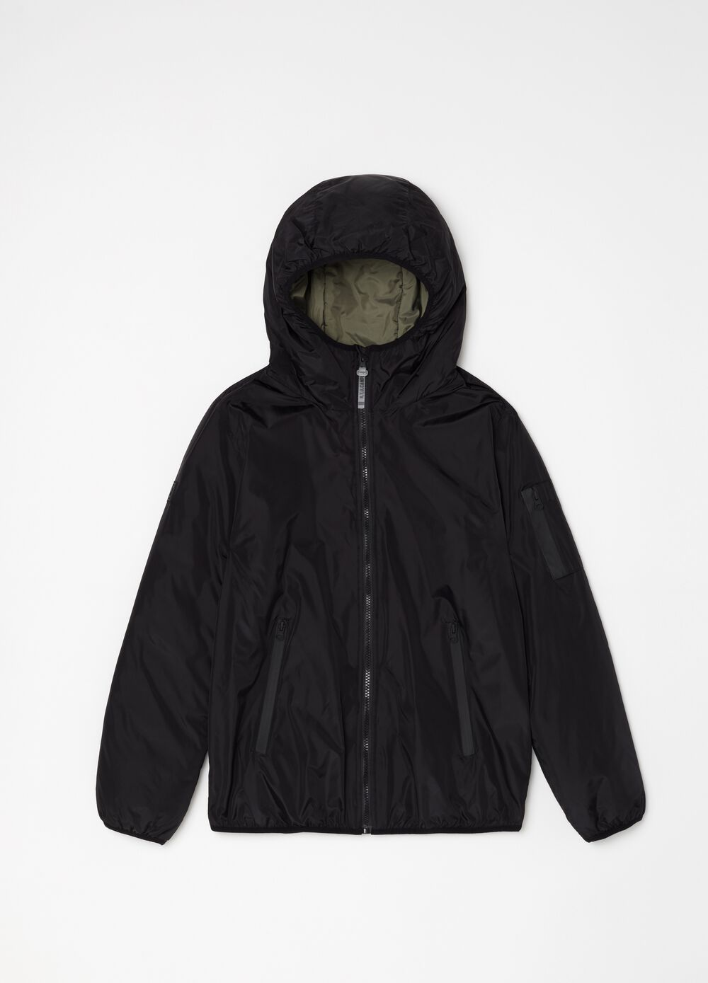 Hooded windbreaker with zip