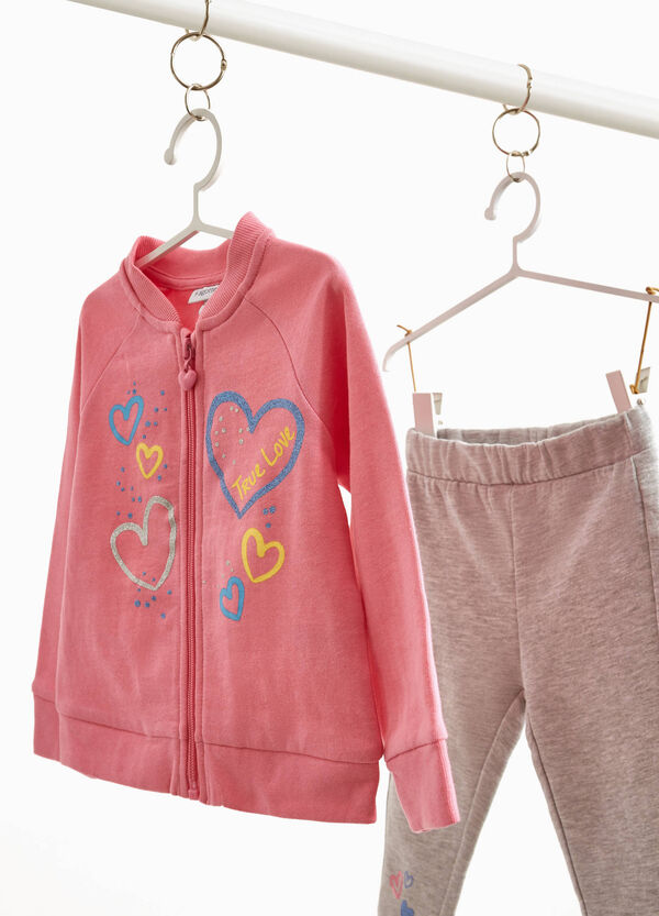 Tracksuit in 100% cotton with glitter hearts print