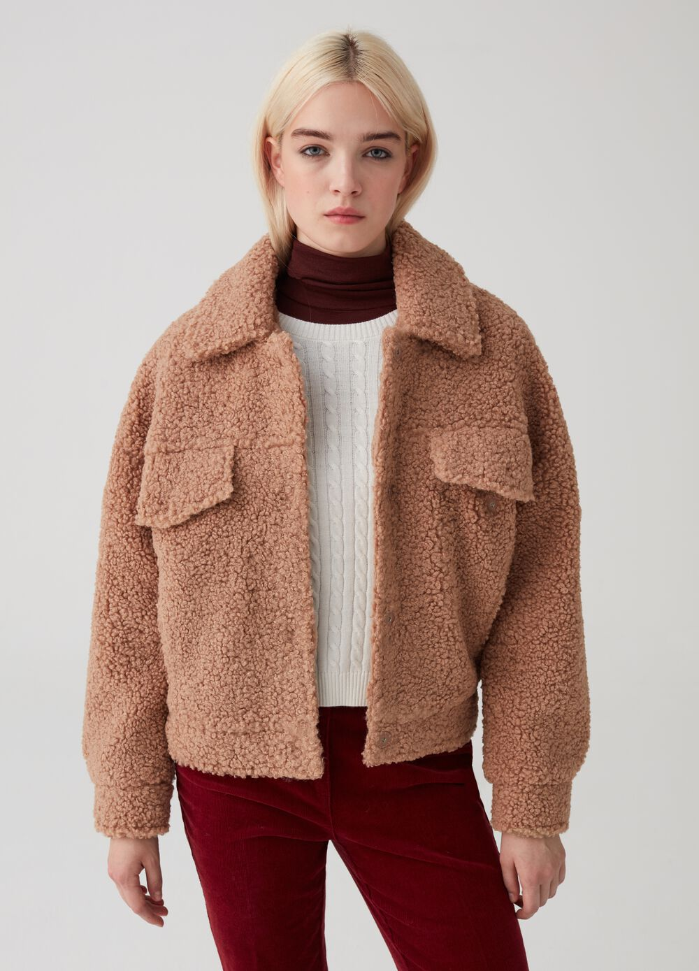 Faux fur jacket with pockets