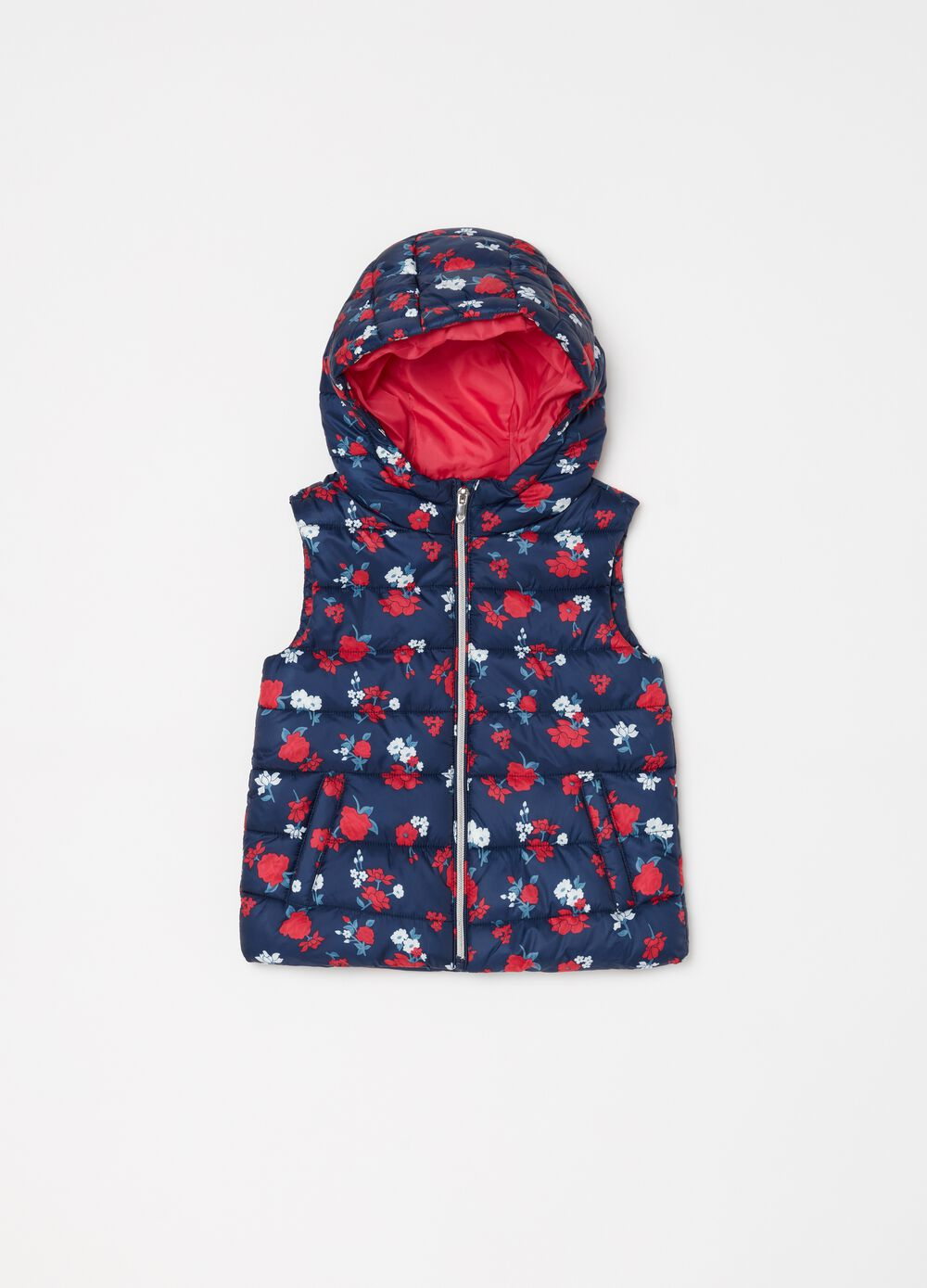 Quilted padded gilet with flowers print