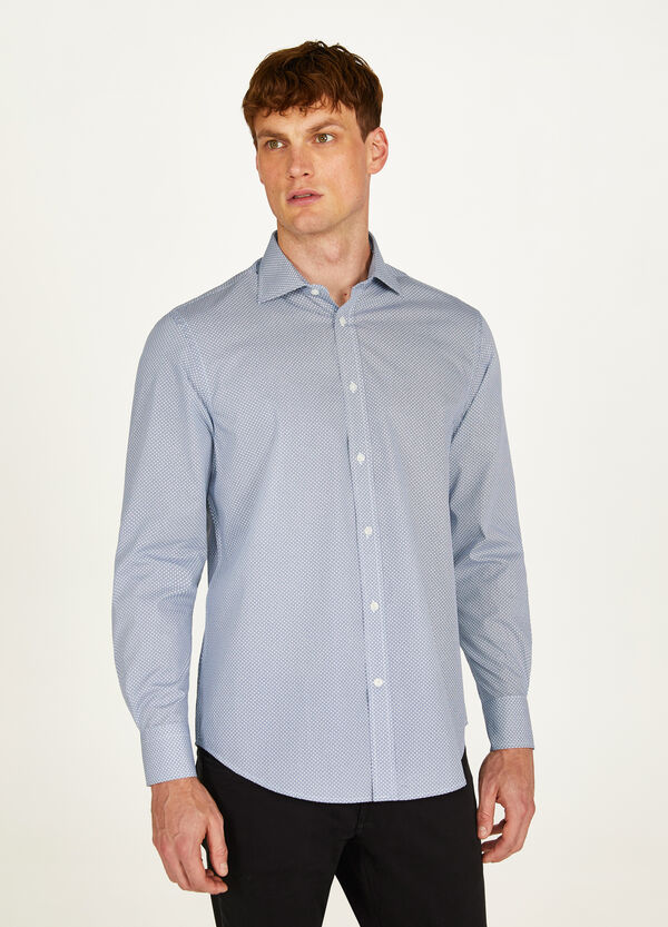 Regular-fit formal shirt with micro floral pattern