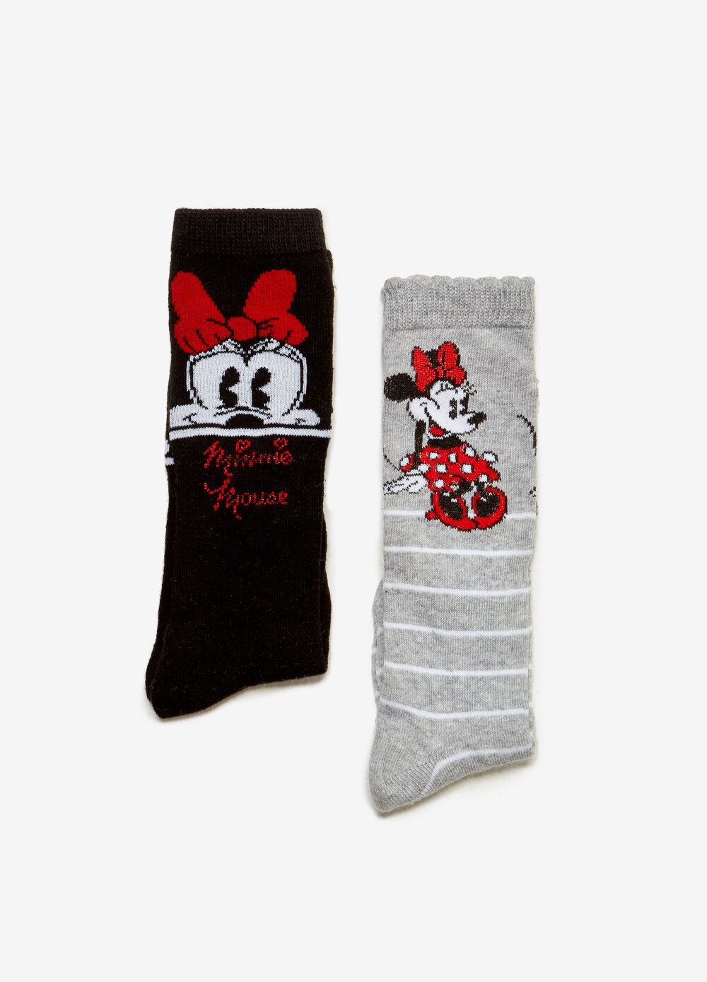 Two-pair pack long stretch Minnie Mouse socks