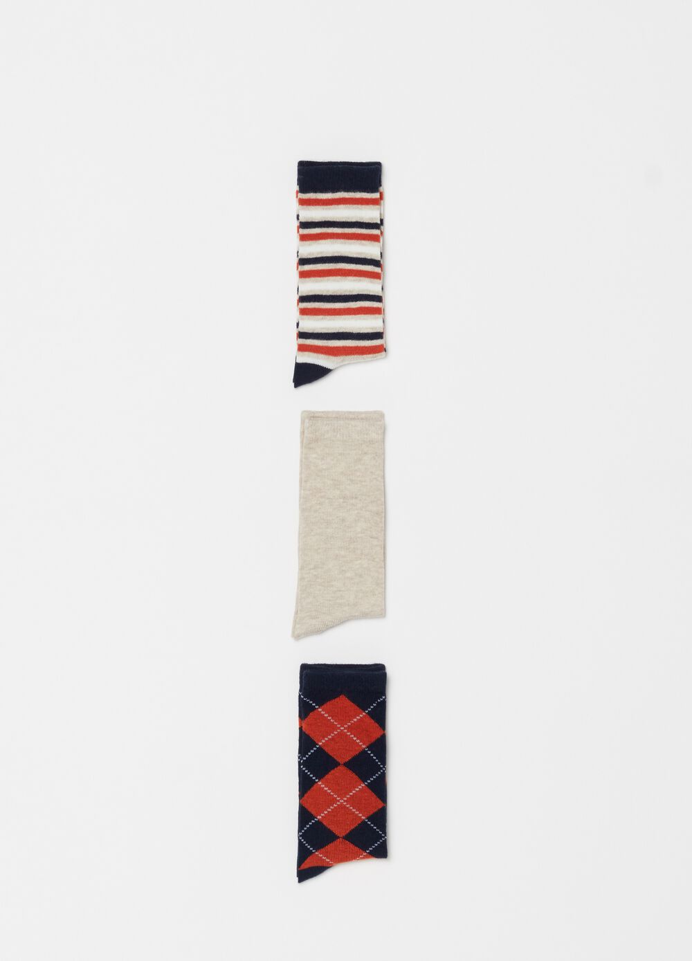 Three-pack long patterned socks
