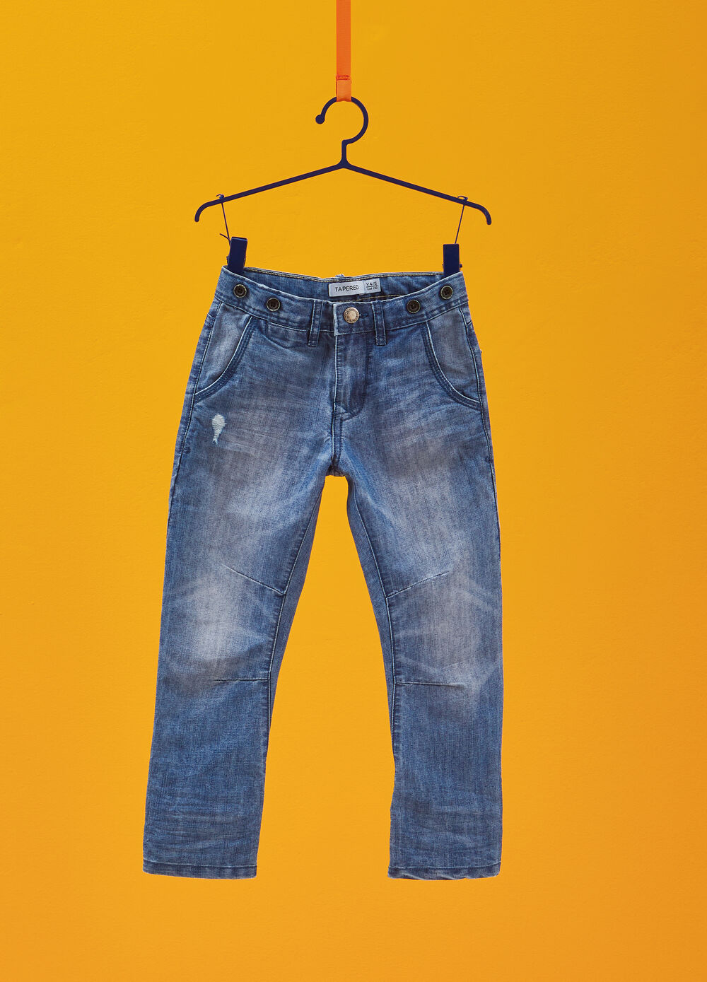 Mis-dyed effect tapered-fit jeans