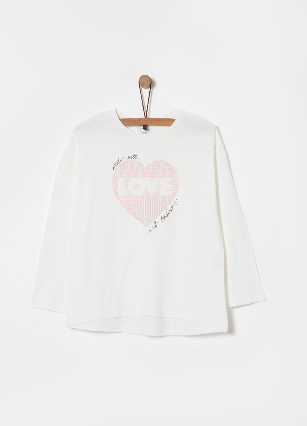 Bio-cotton T-shirt with flocked hearts print