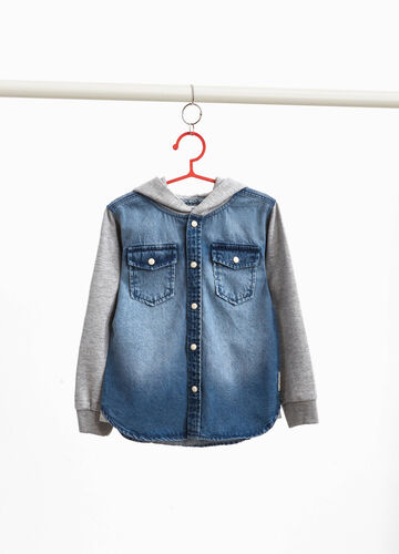 Washed-effect denim shirt with lettering