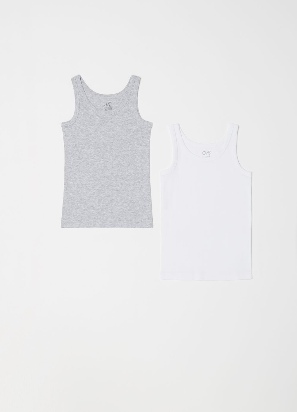 Two-pack solid colour and mélange vests