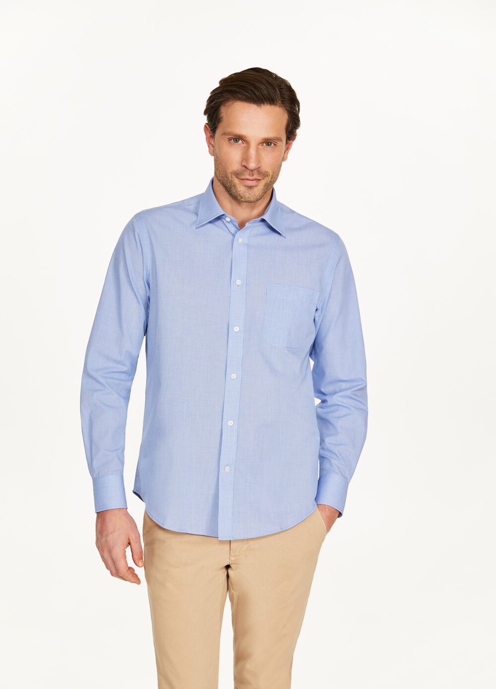 Regular-fit casual shirt with hounds' tooth pattern