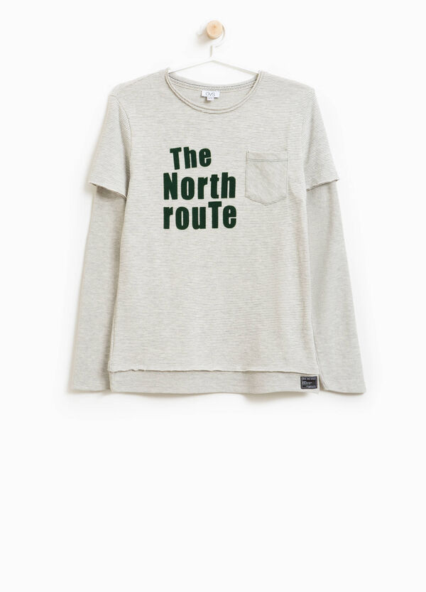 Faux layered cotton blend T-shirt with lettering | OVS