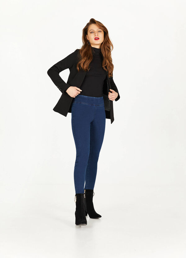 Solid colour stretch jeggings