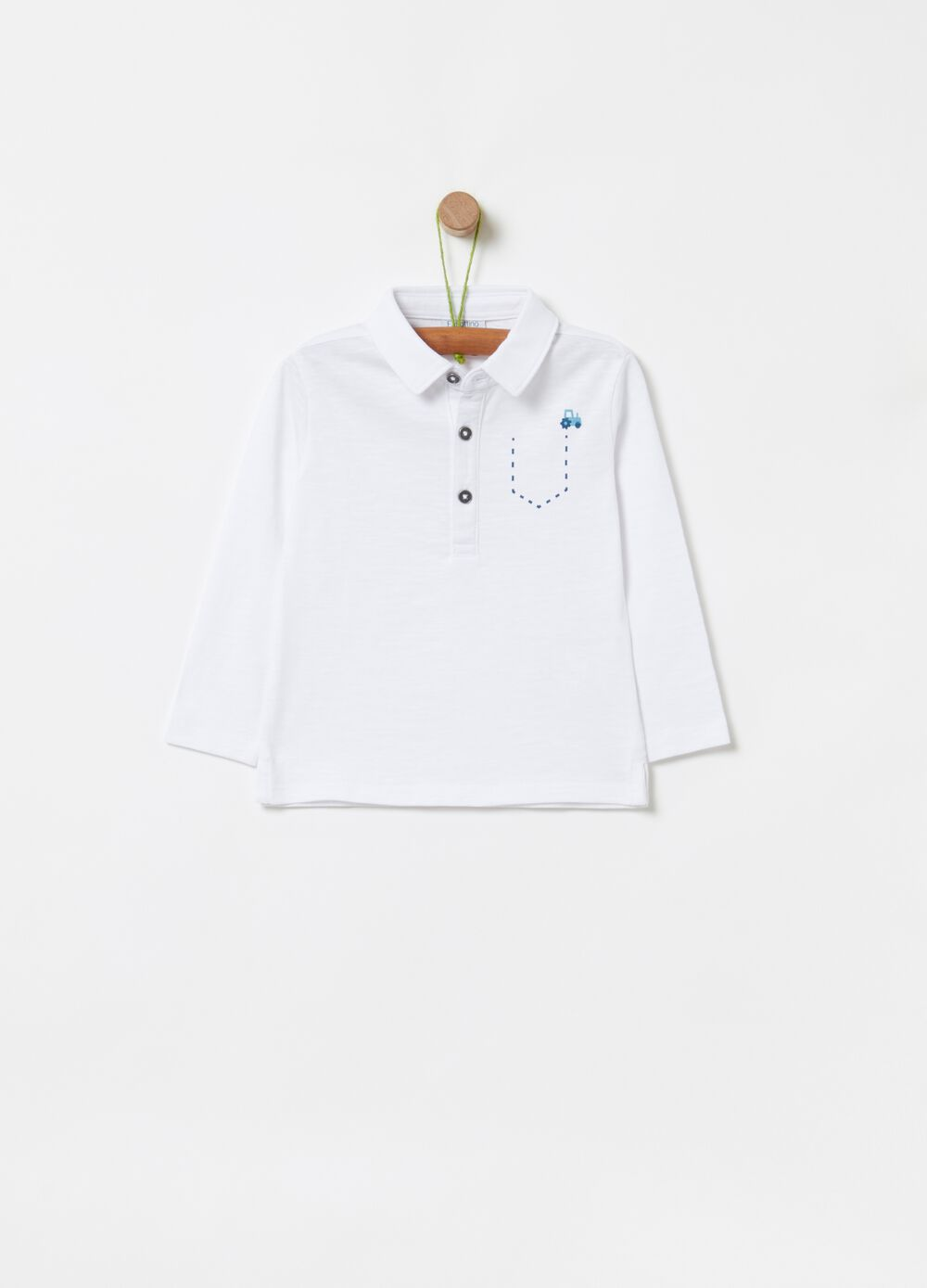 Polo shirt in 100% organic cotton with print