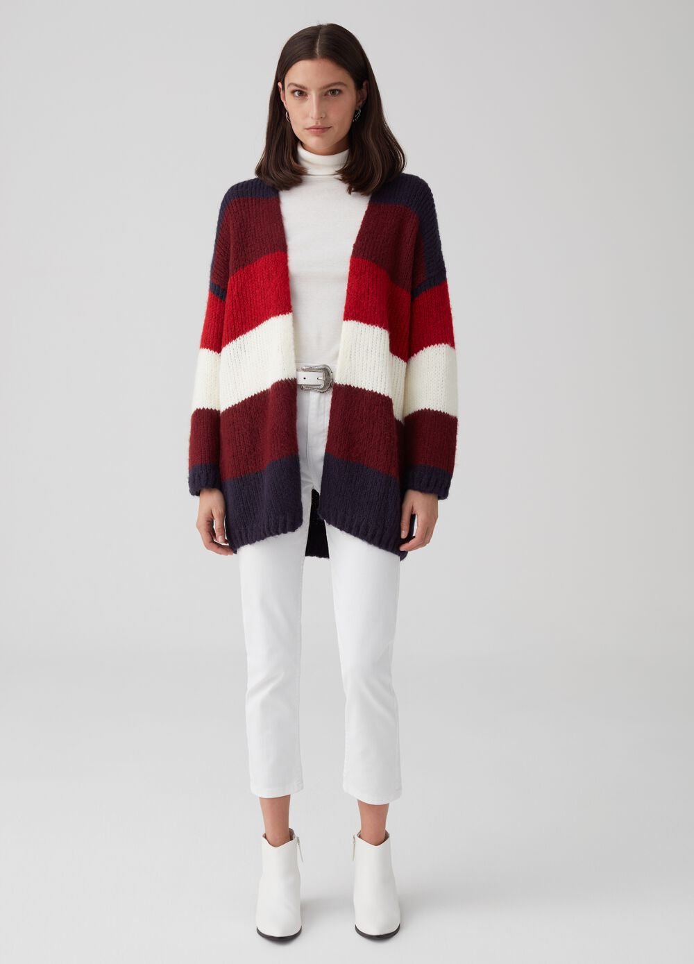 Open knit cardigan with striped pattern