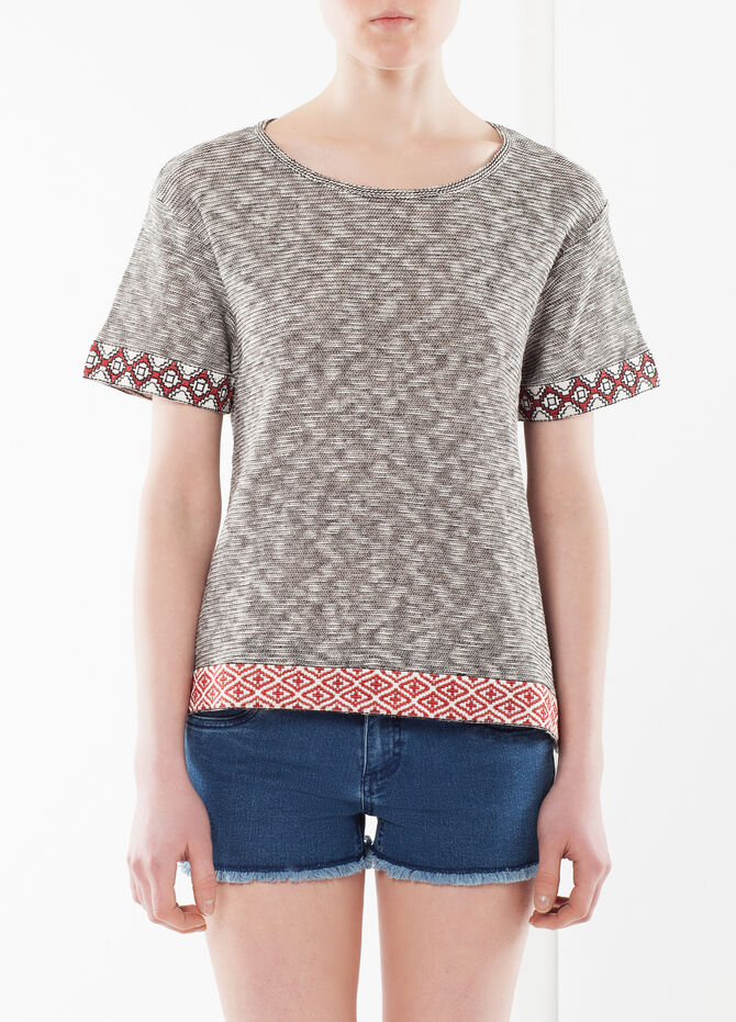 T-shirt with geometric bands