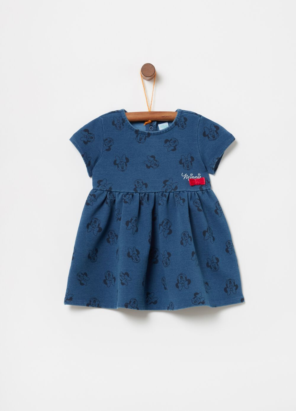 Denim dress with Disney Minnie Mouse pattern