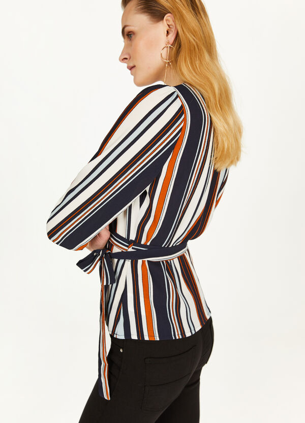 Stretch crossover striped blouse