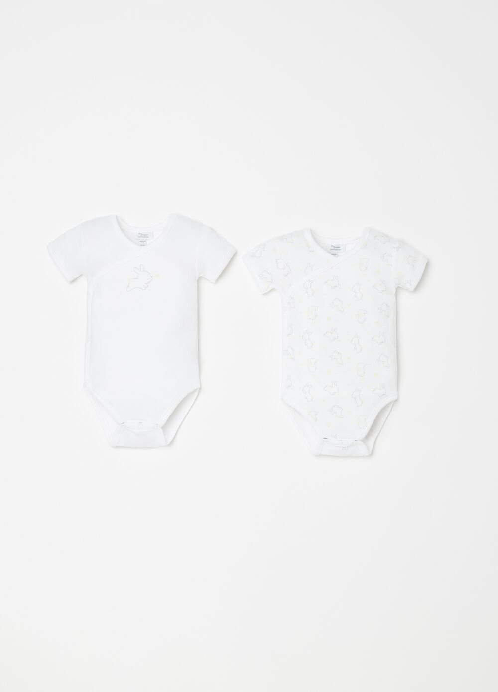 Two-pack short sleeves bodysuits in cotton