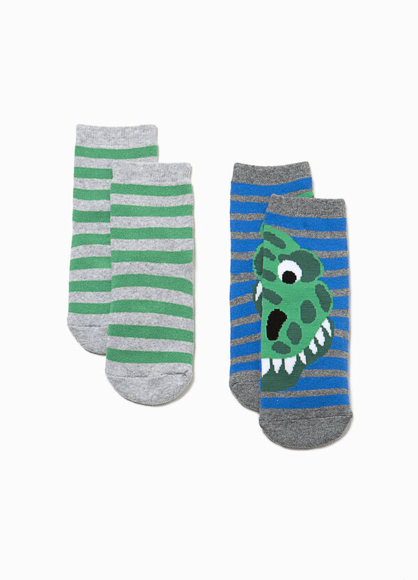 Two-pair pack socks with dinosaurs and stripes | OVS