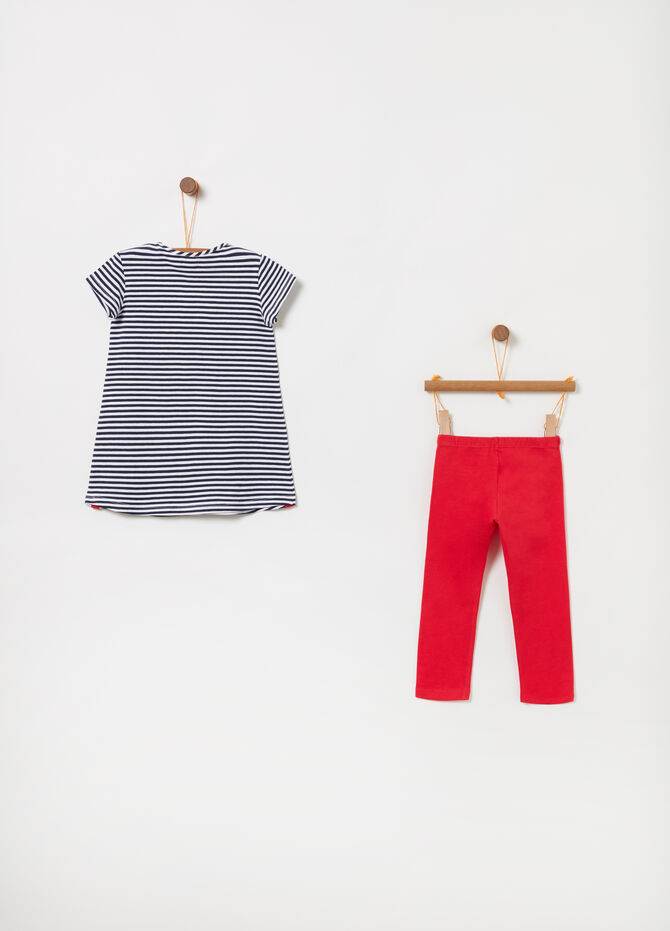 Maxi striped T-shirt and leggings jogging set with diamantés