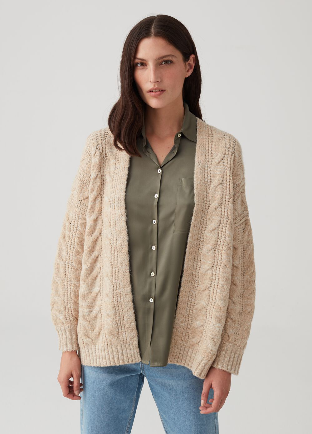 Open knit cardigan with ribbing