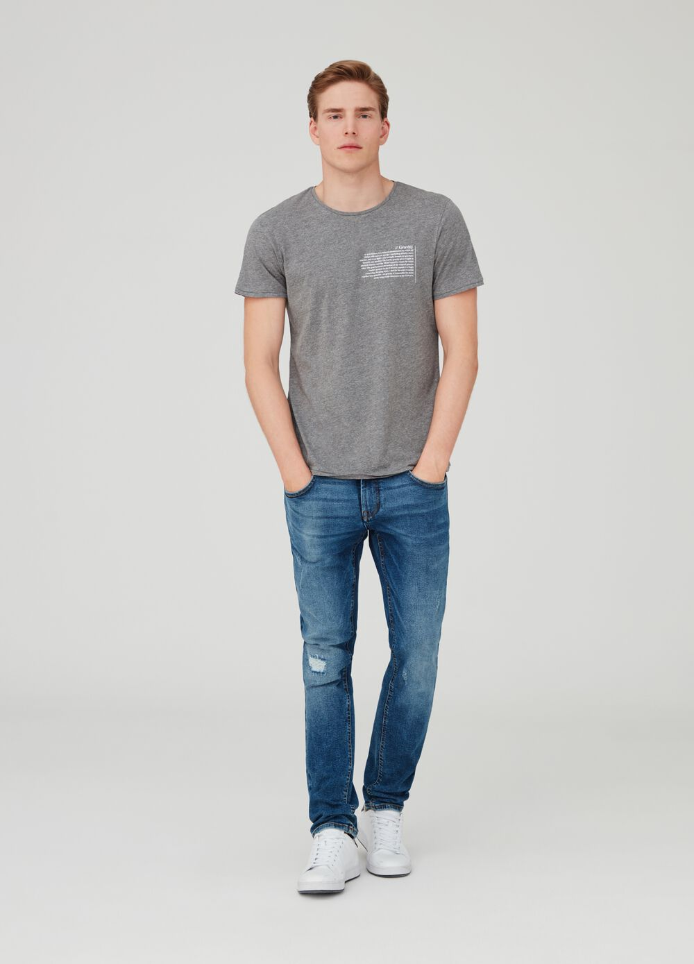 Mélange T-shirt with lettering print on the chest