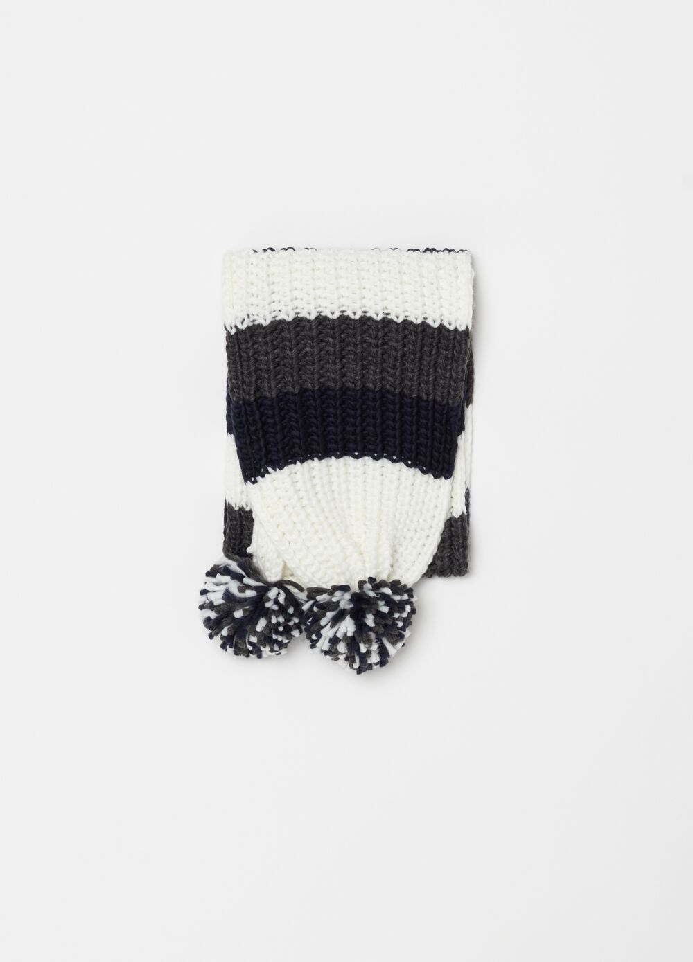 Knitted scarf with striped pompoms