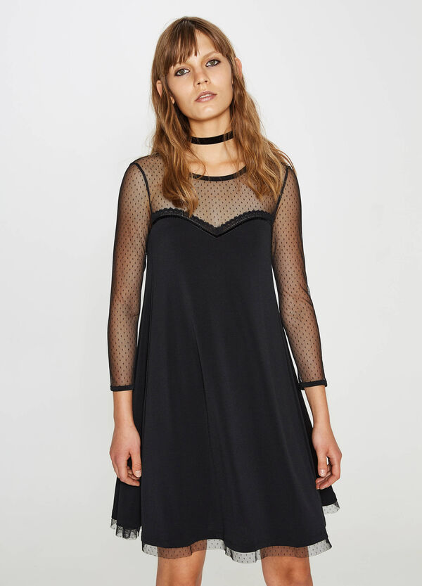 Stretch dress with speckled tulle | OVS