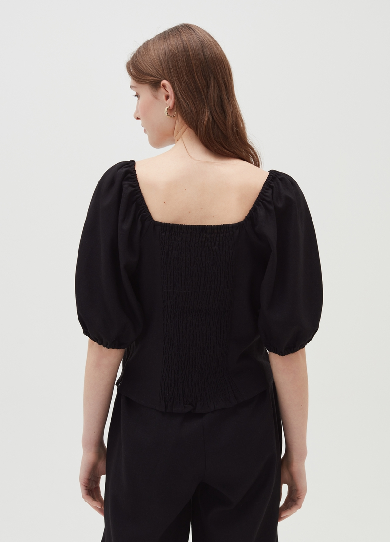 Viscose and linen blouse with puff sleeves image number null