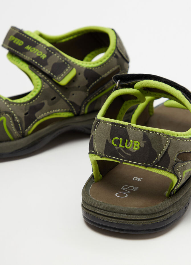 Sandals with camouflage straps