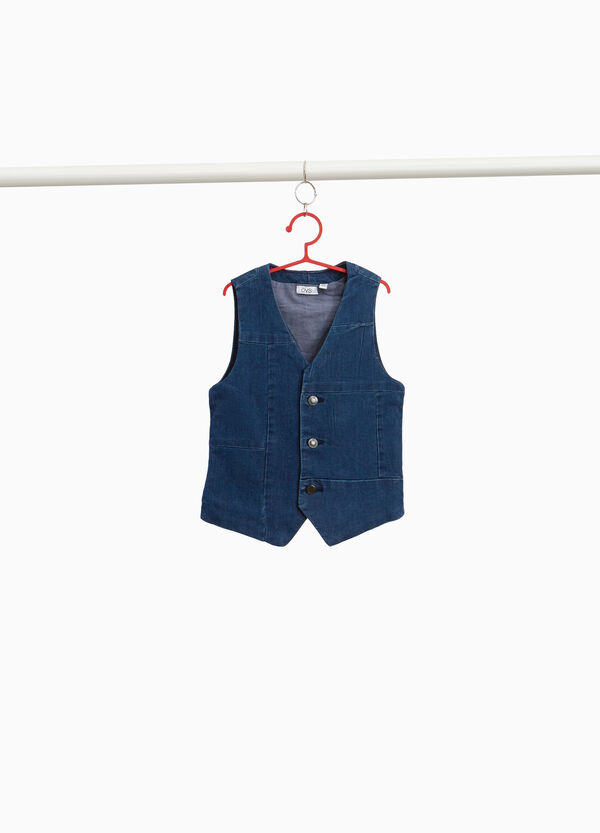 Stretch denim gilet with buttons