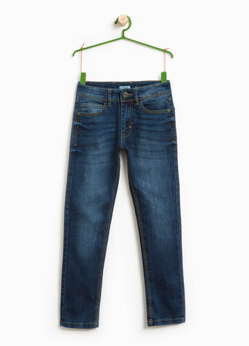 Worn-effect straight-fit jeans