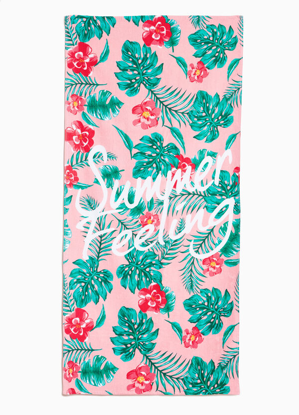 Cotton beach towel with tropical pattern