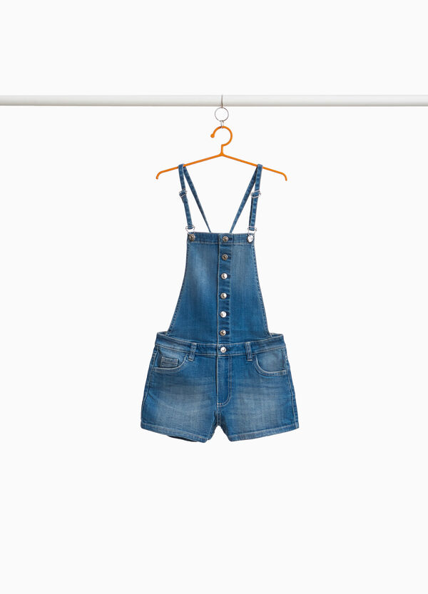 Faded-effect denim dungarees