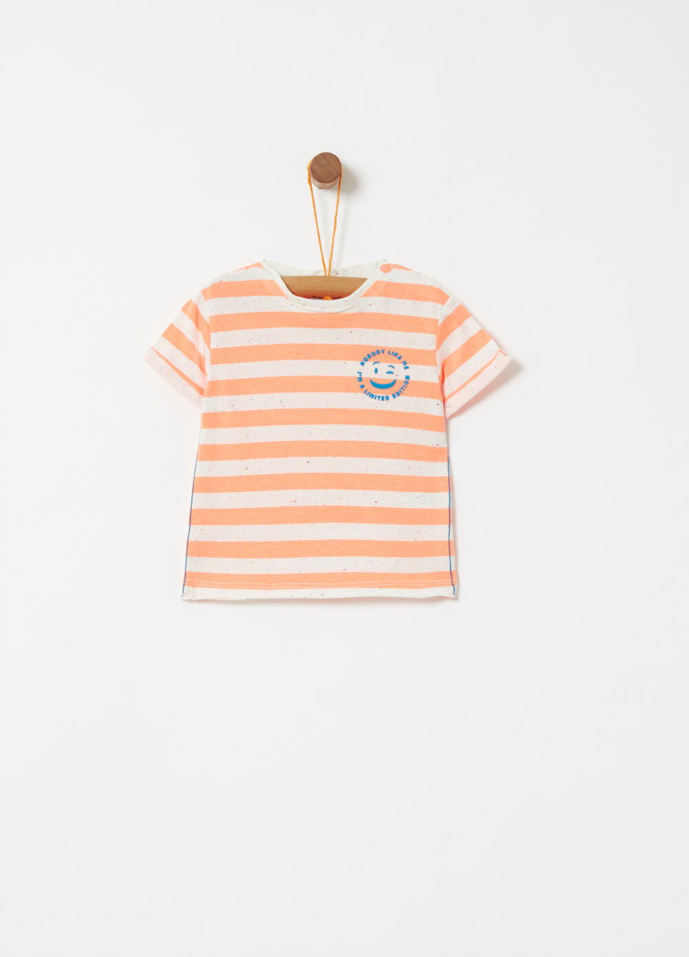 T-shirt with striped smile embroidery
