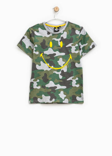 Smiley print camouflage T-shirt