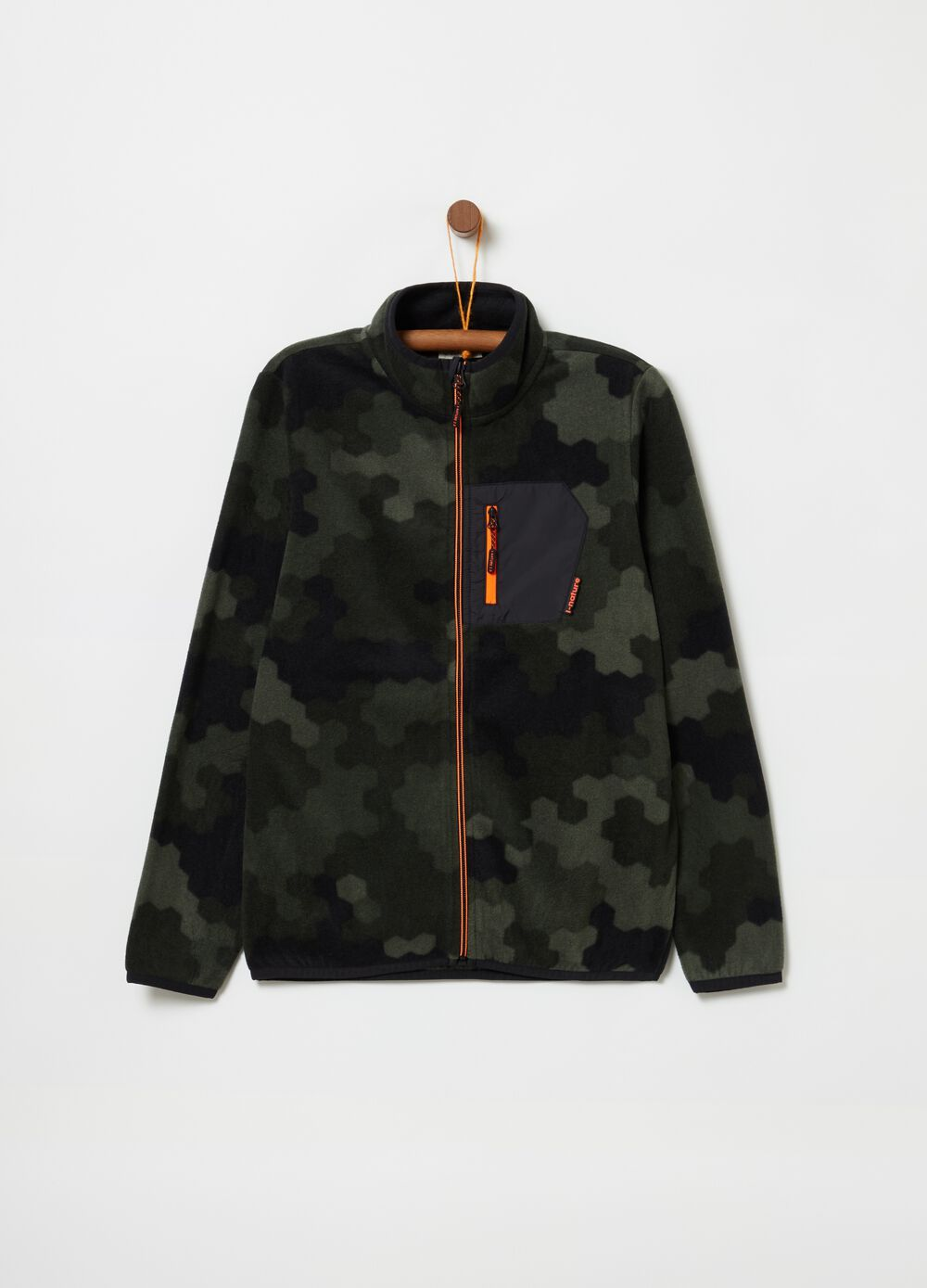 Sustainable fleece sweatshirt with camouflage pattern