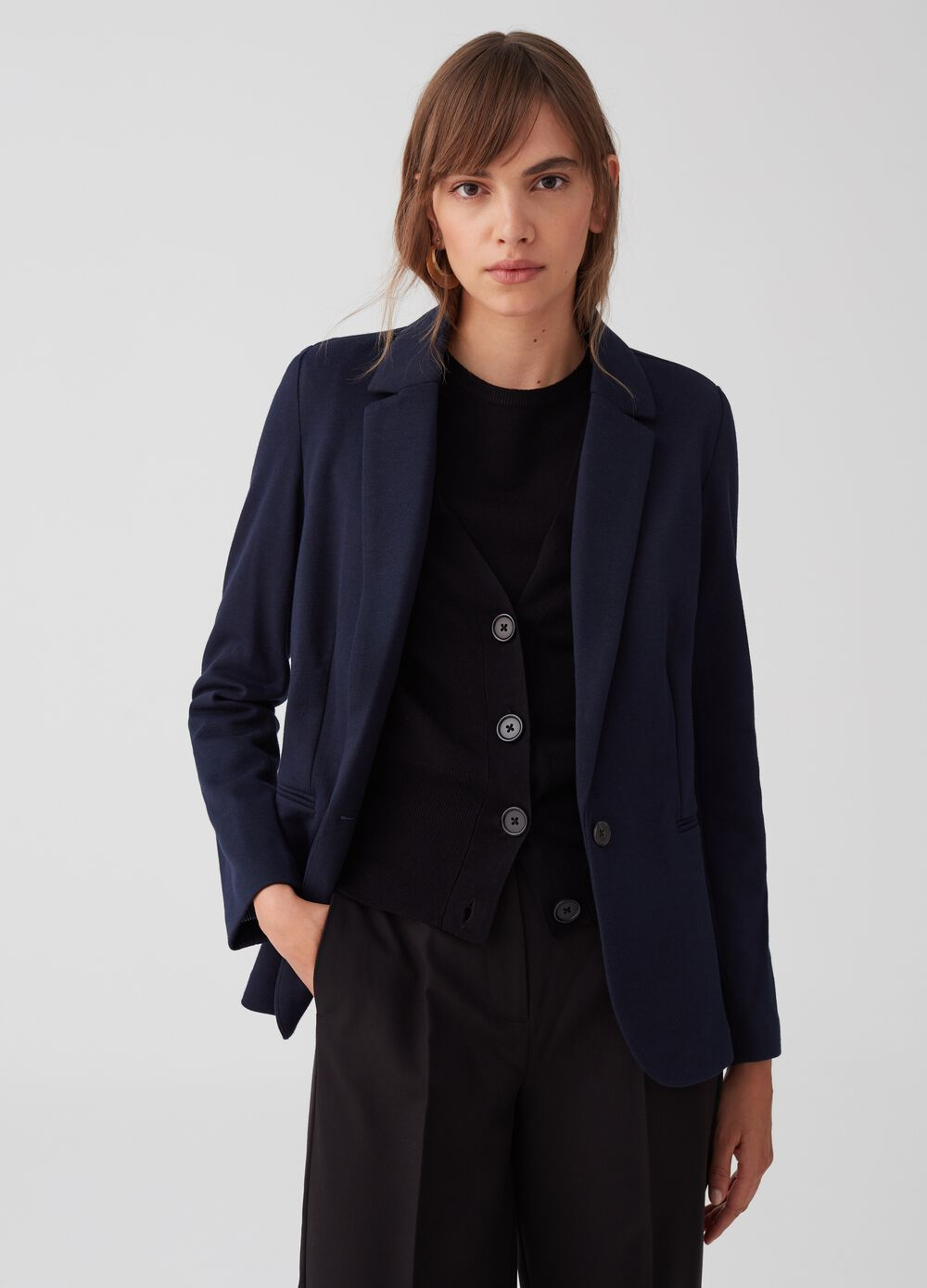 Semi-lined piquet blazer with pockets